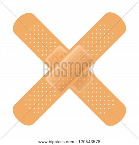 Adhesive Bandage Cross On White. Vector