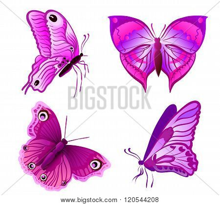 Set Of Purple Butterflies