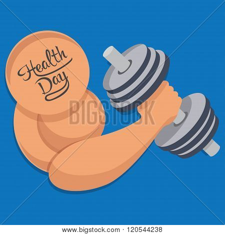Dumbbell in hand, health day