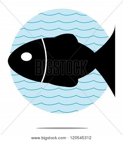 Illustration Of Black Fish With Blue Wave Background