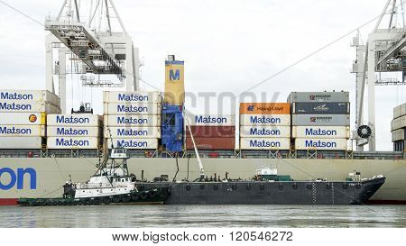 Matson Cargo Ship Mahimahi Docked At The Port Of Oakland