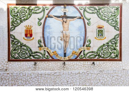CALPE,SPAIN - FEBRUARY 22, 2016:    Porcelain pieces mosaic background on wall in old town in Calpe. Alicante. Spain