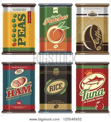 Retro food can vector collection