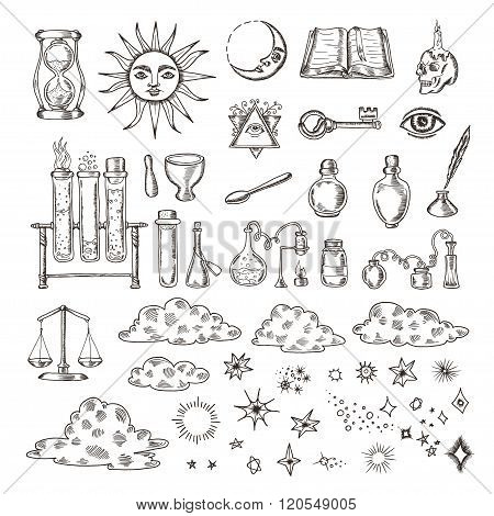 Set of trendy vector alchemy symbols collection isolated on white background.