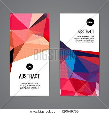 Set of polygonal triangular colorful background banners poster booklet with swirls for modern design