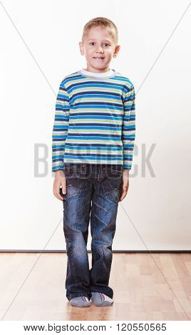 Little Boy Have Fun Alone At Home.