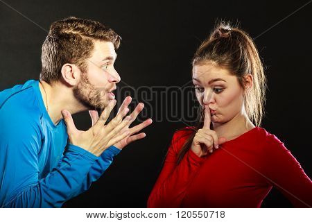 Man Husband Abusing Woman Wife Asking For Silence.