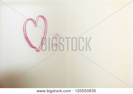 Drawed Heart On Mirror