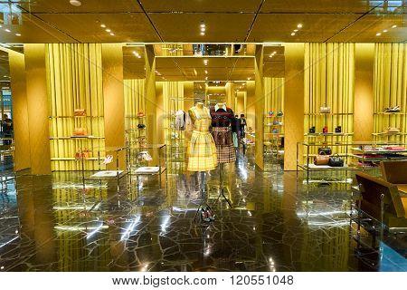 SINGAPORE - NOVEMBER 08, 2015: shopwindow of Miu Miu store. Miu Miu is a high fashion women's clothing and accessory brand from the Prada fashion house