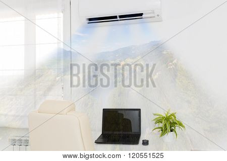 Air Conditioner Blowing Cold Air.