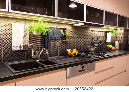 Modern Kitchen At Home With Healthy Food.