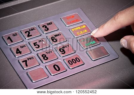 Atm Machine Keypad Numbers, Entering Pin Code
