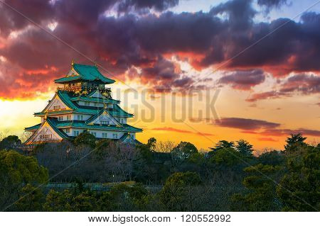Amazing Sunset Image Of Osaka Castle
