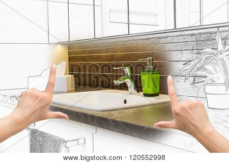 Female Hands Framing Custom Bathroom Design.