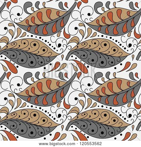 Seamless Abstract Pattern With Doodle Leaf And Swirles.