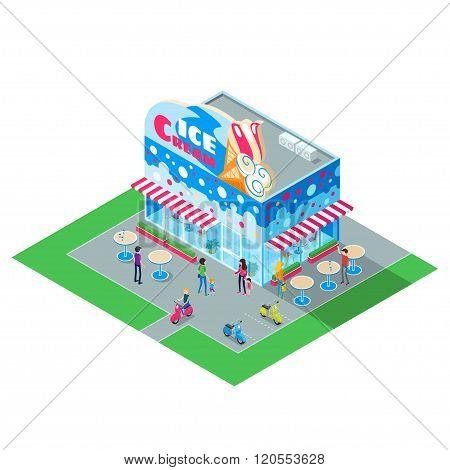 Isometric Building Cafe Ice Cream.