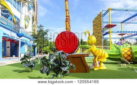 Shah Alam, Malaysia - February 3, 2016: Kids Playground At I-city Theme Parks During Daytime.  I-cit