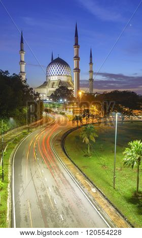 The Beautiful Sultan Salahuddin Abdul Aziz Shah Mosque (also Known As The Blue Mosque) Located At Sh