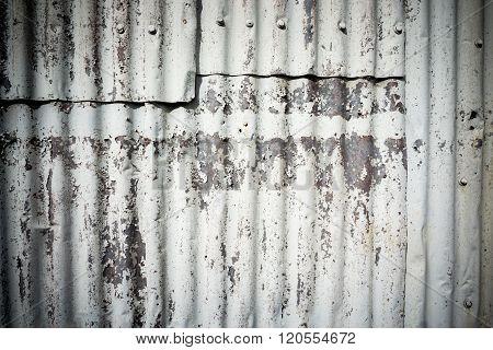Corrugated Iron Rough And Peeling Paint