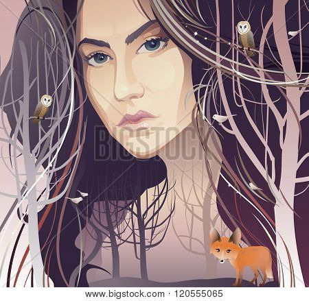 Young Woman in Forest (Mother Nature)