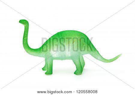 Plastic Brachiosaurus Toy On A White Background