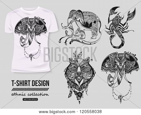 -shirt design with hand-drawn ethnic animals collection, mehendi tatoo style. White isolated t-shirt