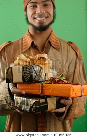 Man with wrapped gifts