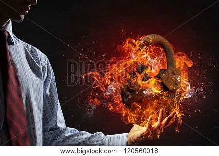Lock burning in fire