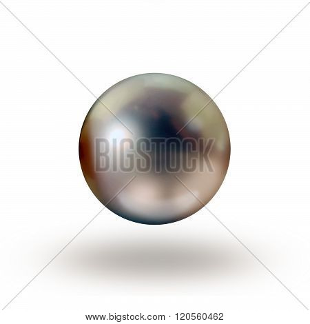 Tahitian close up of single dark grey pearl on white