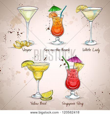 New Era Cocktail Set, different cocktails. Vector illustration, EPS 10