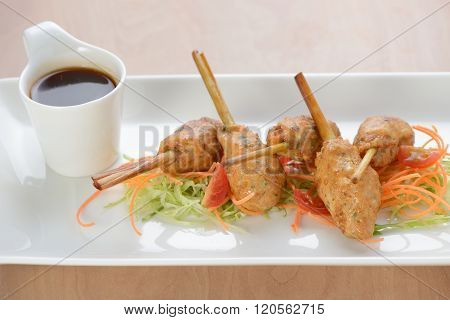 Thai Lemon Grass Skewer with sweet and sour sauce