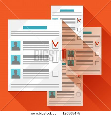 Voting ballots with selected candidate. Political elections illustration for banners, web sites, ban