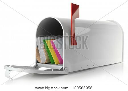 Mailbox with correspondence isolated on white