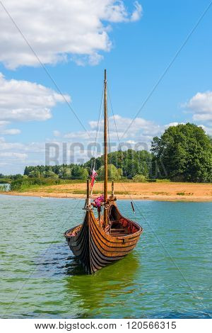 Vertical Photo Viking Boat On The Water