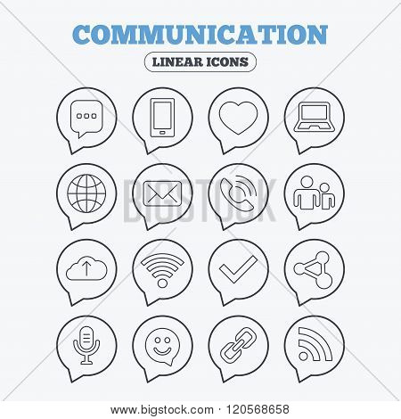 Communication icon. Smartphone, laptop and chat.