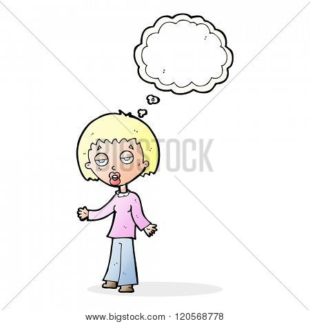 cartoon tired woman with thought bubble