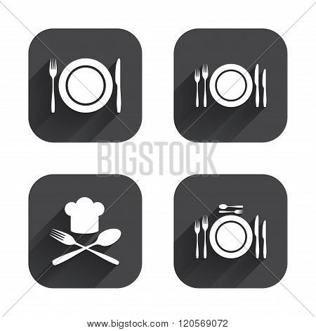Plate dish with forks and knifes icon. Chief hat