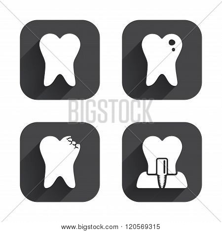 Dental care icons. Caries tooth and implant.