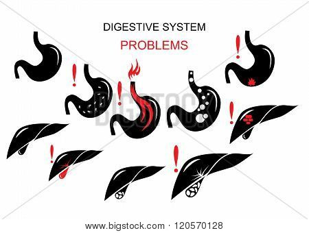 illustration of the problems of the digestive system