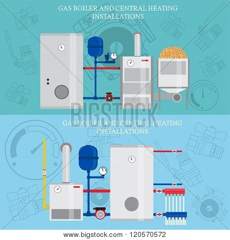 Gas Boiler And Central Heating Installations, Flat Heating Concept, Banner, Logo.  For Web Design An