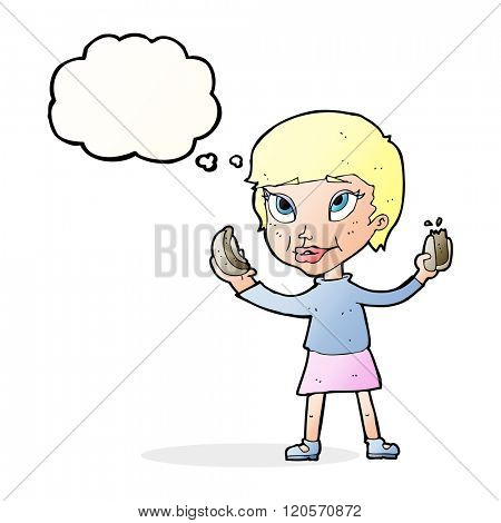 cartoon woman eating hotdogs with thought bubble