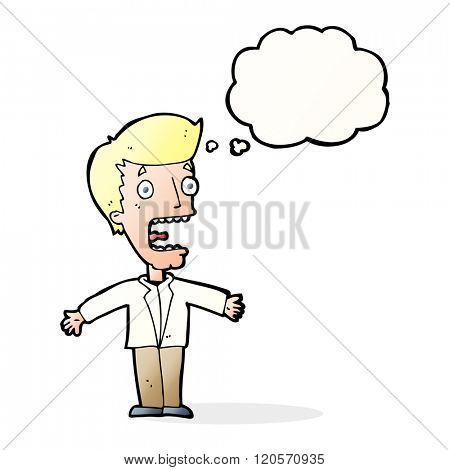 cartoon screaming man with thought bubble