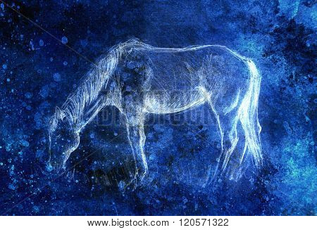 Draw pencil horse on old paper, vintage paper and old structure with color spots. Invert effect.