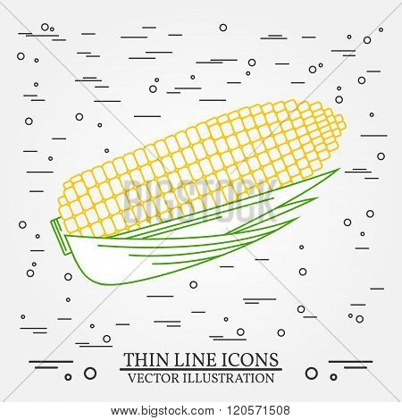 Corn  Thin Line Design. Corn  Pen Icon. Corn  Pen Icon Vector. Corn  Pen Icon Drawing. Corn  Pen Ico