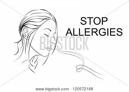 freely the girl inhales fragrance. lineart. vector
