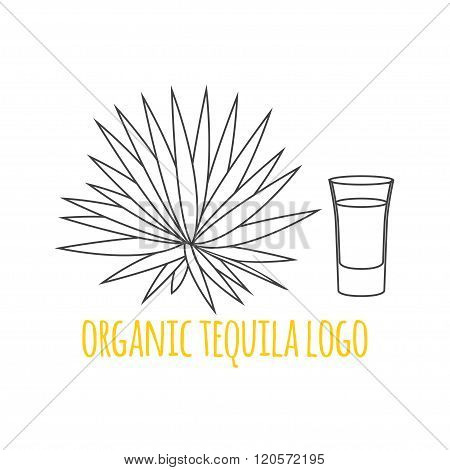 Modern Line Style Logo, Branding,  Logotype,  Badge  With Agave And A Glass Of Tequila.  Distillery