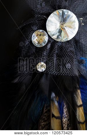 Crystal Broach With Feather