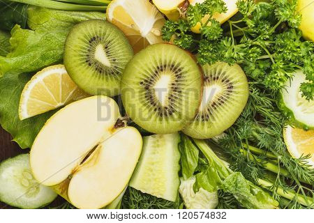 Set Of Greenery And Fruits