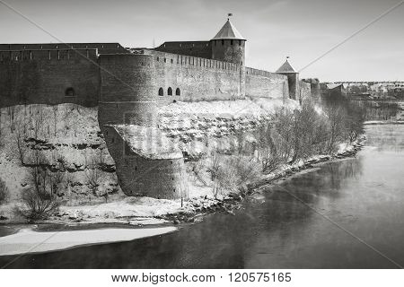 Ivangorod Fortress At Narva River In Winter Season