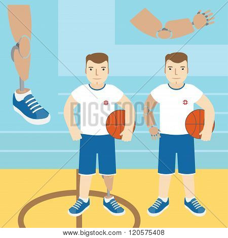 Man With Prosthetic Arm, Holding A Basketball, And A Man With A Prosthetic Leg, Holding A Basketball